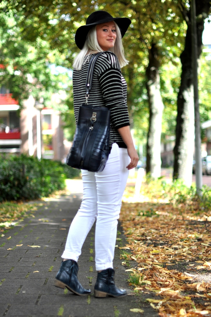 outfit white jeans striped jumper alexander wang zign