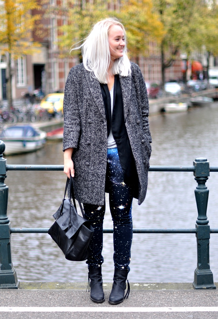 outfit galaxy tweed oversized coat river island acne pistol