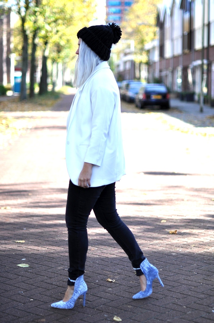 outfit white weekday river island zara beanie