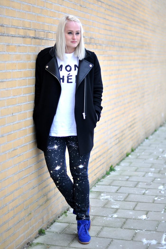 outfit galaxy jeans river island zara coat isabel marant bobby