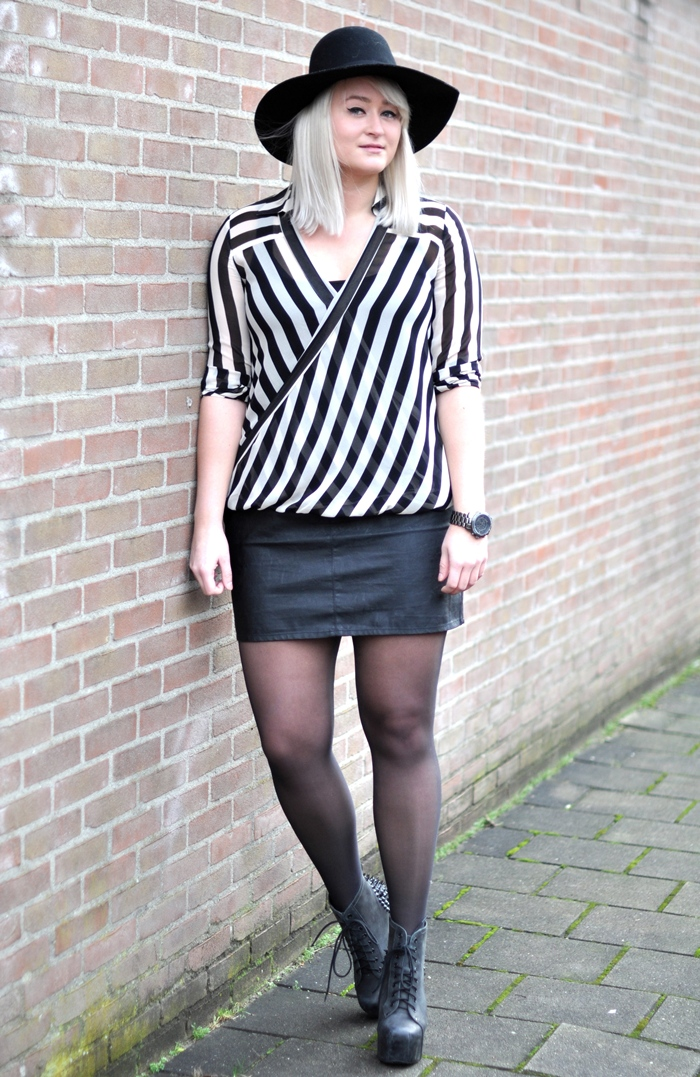 outfit sffte striped top leather skirt jeffrey campbell lita spikes studs hat monki