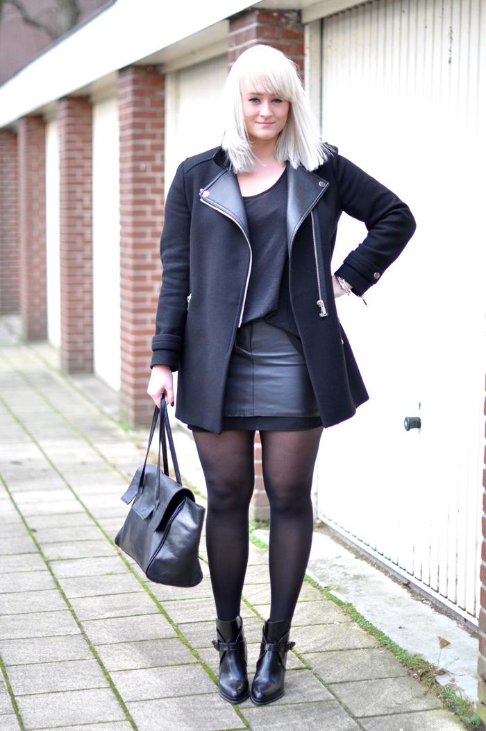 excellent black leather skirt forever 21