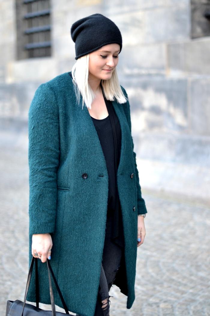 outfit emerald green H&M trend coat zara ponyhair slipons