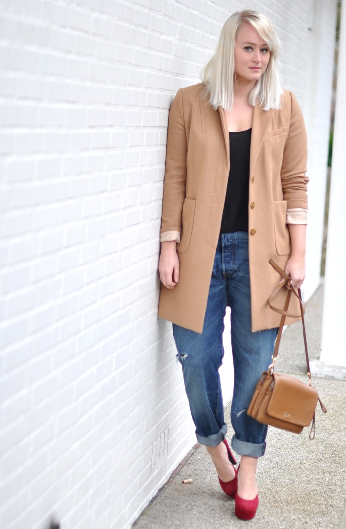 outfit camel coat levis 501 jeans red heels D&amp;G bag classy outfit sffte
