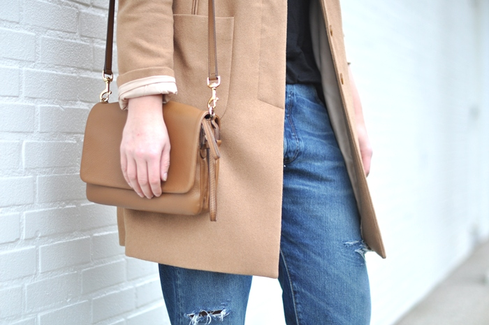outfit camel coat levis 501 jeans red heels D&G bag classy outfit sffte