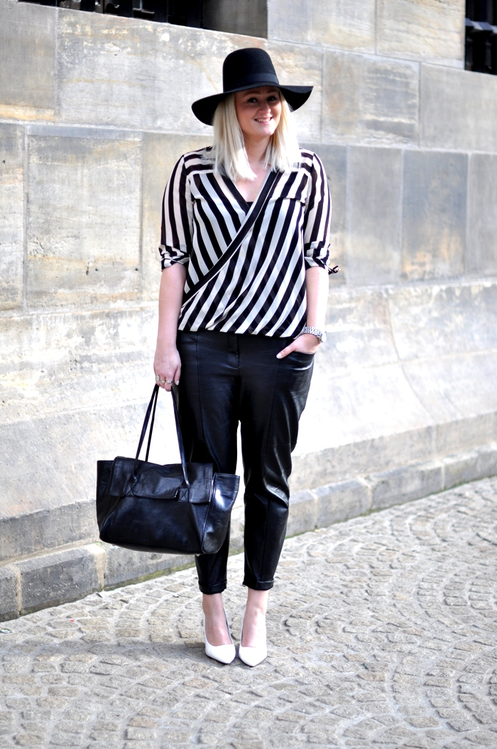 black and white outfit baggy leather stripes white pointy heels
