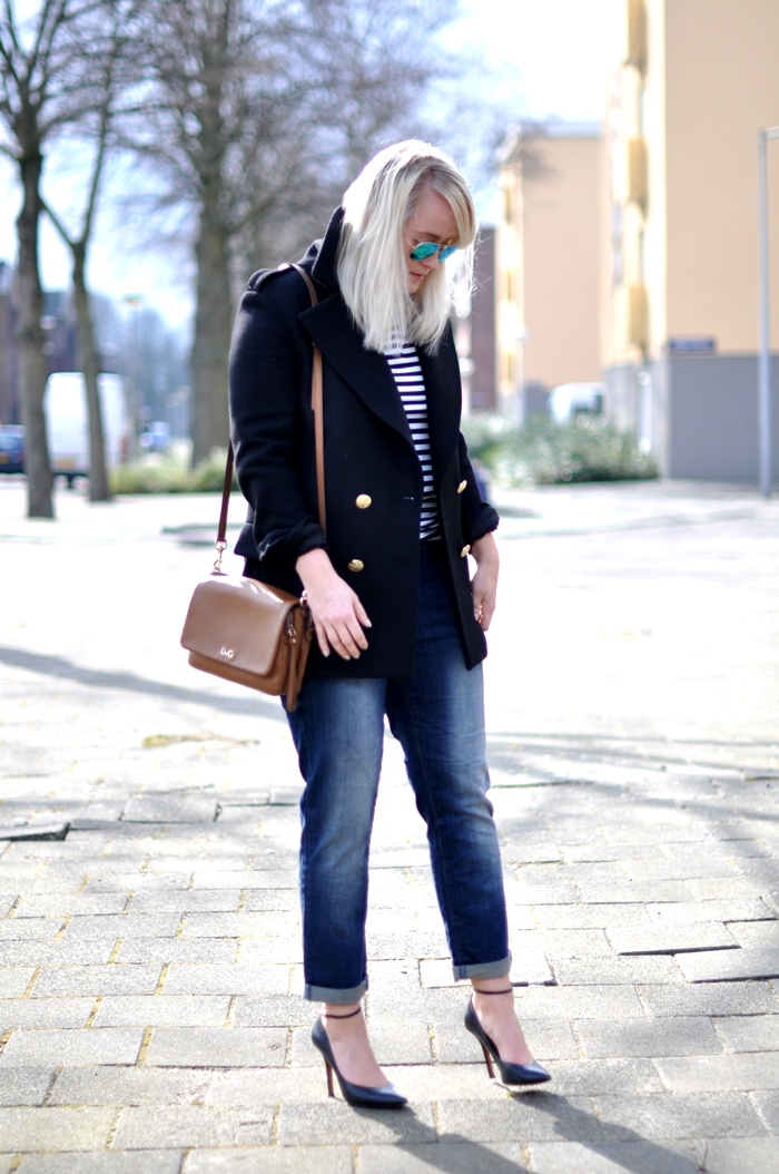 outfit we striped breton loose fitted jeans rayban D&G
