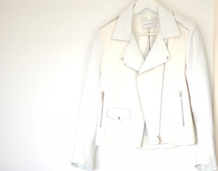 sandro white leather jacket