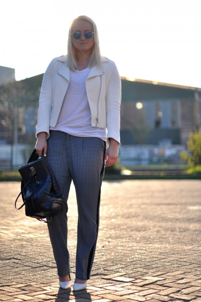 outfit mexx trousers alexander wang sandro white leather jacket