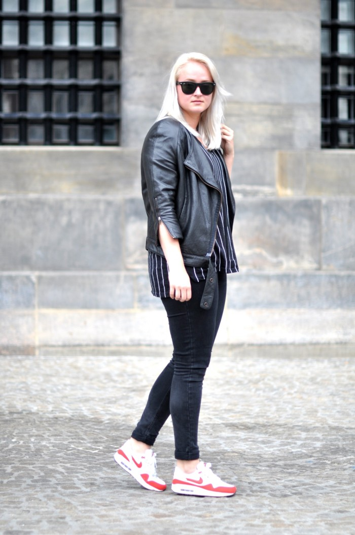 Outfit Acne leather jacket Rocket Nike air max one Ray Ban all black (3)