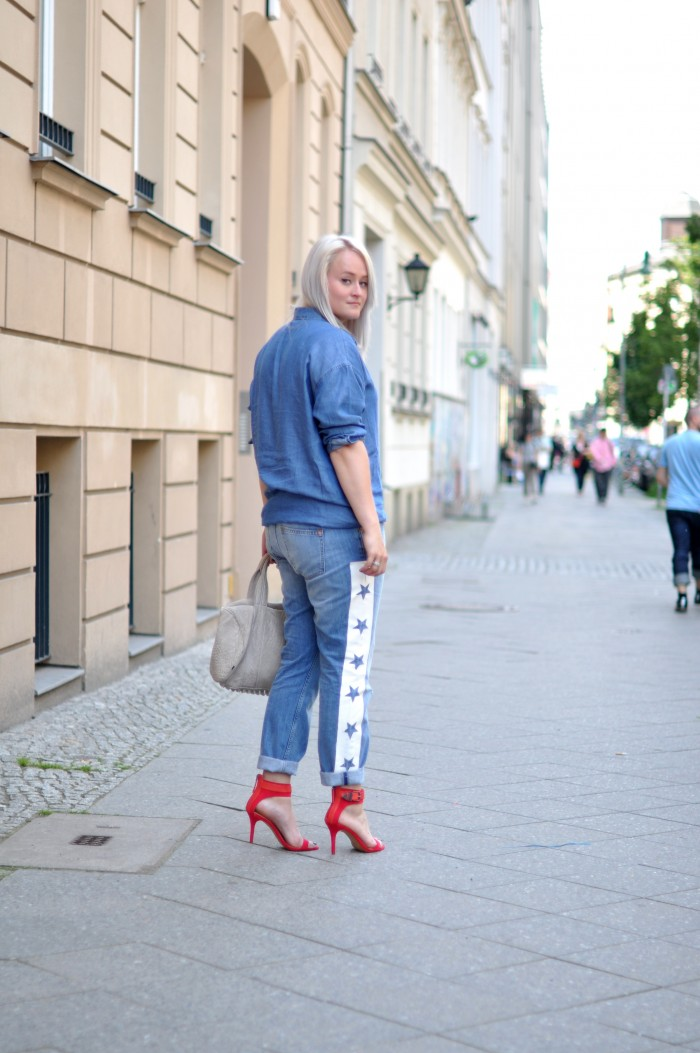 outfit double denim red heels zara star denim alexander wang (2)