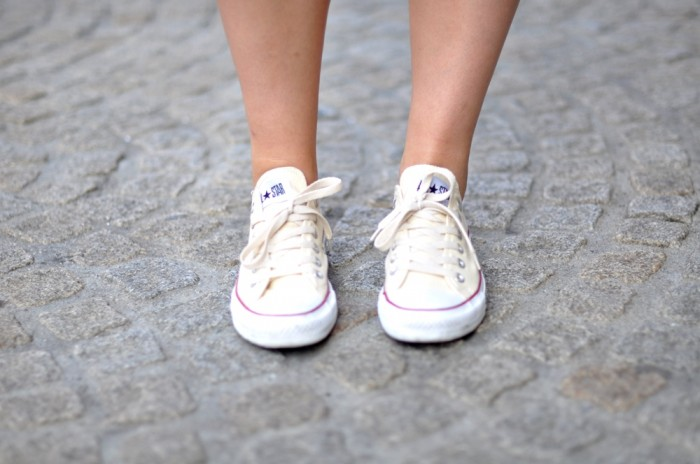 outfit grey cos dress cream converse allstars (4)