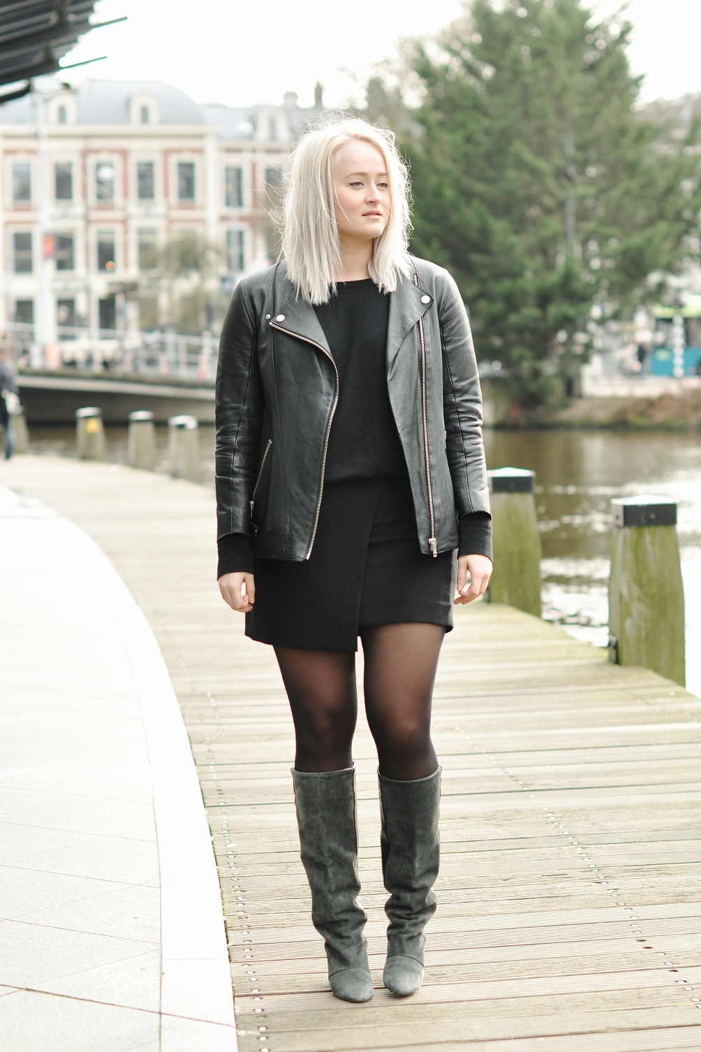 Leather jacket with leather boots