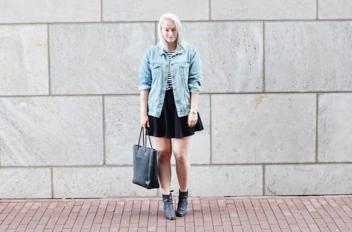OUTFIT SKATER SKIRT ACNE PISTOL BOOTS DENIM JACKET STRIPED TOP ALEXANDER WANG TOTE BAG (1)