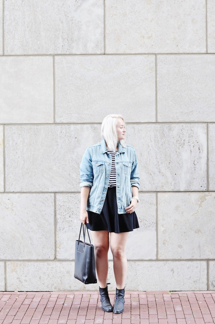 OUTFIT SKATER SKIRT ACNE PISTOL BOOTS DENIM JACKET STRIPED TOP ALEXANDER WANG TOTE BAG (2)