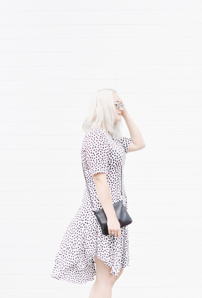 OUTFIT POLKADOT DRESS H&M TREND ACNE TRACK BOOTS RAYBAN CLUBMASTER SUNGLASSES (1)